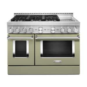 48 in. 6.3 cu. ft. Smart Double Oven Commercial-Style Gas Range with Griddle and True Convection in Avocado Cream