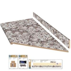 8 ft. White Laminate Countertop Kit With Right Miter and Eased Edge in Bianco Antico Textured Gloss