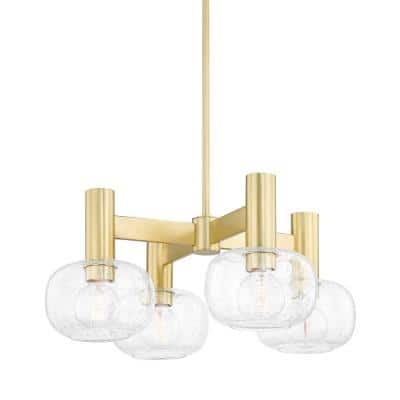 Harlow 4-Light Aged Brass Chandelier with Shade