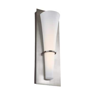 Barrington 5.25 in. W. 10-Watt Brushed Steel Integrated LED Wall Sconce with Opal Etched Glass Shade