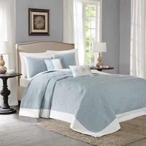 Stanton 5-Piece Blue King Reversible Bedspread Set