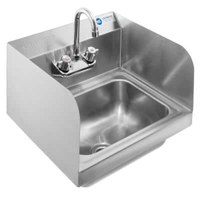 18-Gauge 17 in. Stainless Steel Wall Mount 1-Compartment Commercial Kitchen Hand Sink with Faucet and Sidesplashes