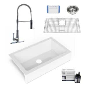 Elevate All-in-One QuickFit Fireclay 33.85 in. Single Bowl Undermount Farmhouse Kitchen Sink w/ Pfister Faucet in Chrome