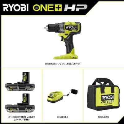 ONE+ HP 18V Brushless Cordless 1/2 in. Drill/Driver Kit with (2) 2.0 Ah HP Battery, Charger and Bag