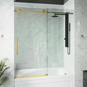 Elan Cass 56 to 60 in. W x 66 in. H Sliding Frameless Tub Door in Matte Gold with Clear Glass