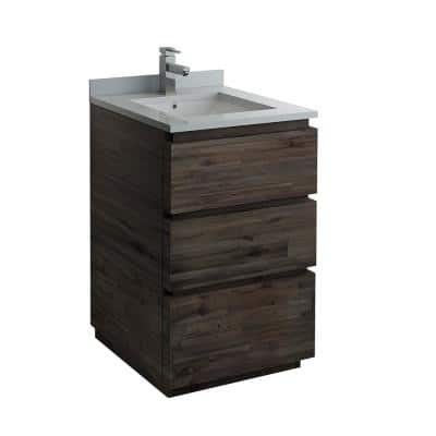Formosa 24 in. Modern Vanity in Warm Gray with Quartz Stone Vanity Top in White with White Basin