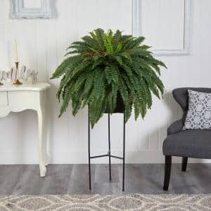 51 in. D Boston Fern Artificial Plant in Black Planter with Stand