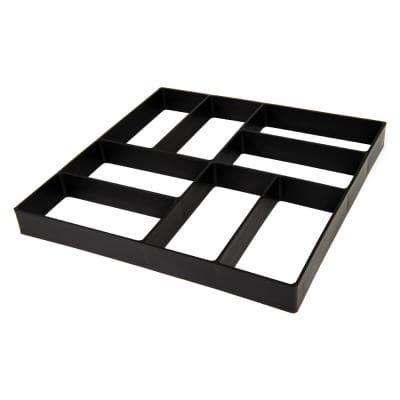 16 in. x 16 in. x 1.5 in. Black Plastic Mold Reusable Concrete Stepping Stone, DIY Paver Pathway Maker