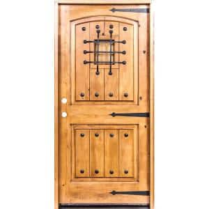 32 in. x 80 in. Mediterranean Knotty Alder Arch Top Clear Stain Left-Hand Inswing Wood Single Prehung Front Door