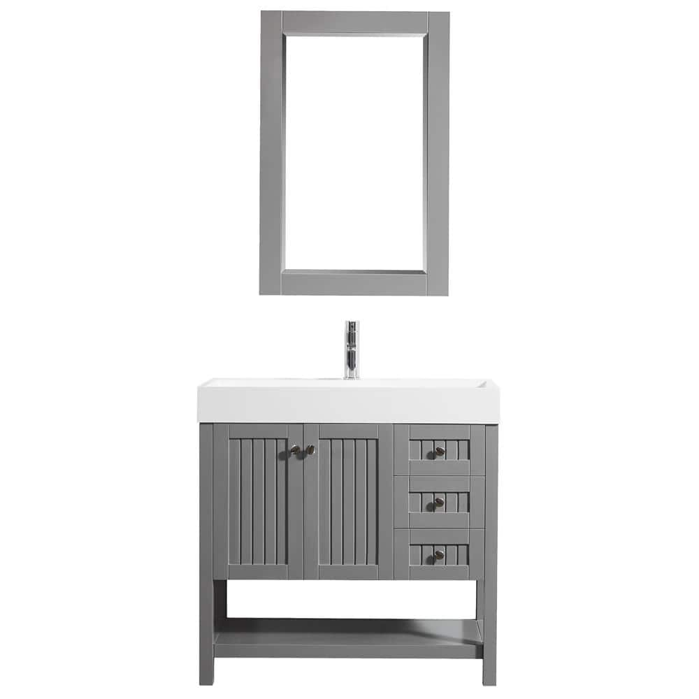 Roswell Pavia 36 In W X 18 In D Vanity In Grey With Acrylic Vanity Top In White With White Basin And Mirror 755036 Gr Wh The Home Depot
