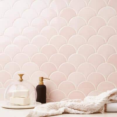 Beta Rose 2.44 in. x 5 in. Fish Scale Polished Ceramic Wall Tile (4.06 sq. ft. / Case)