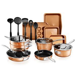 StackMaster 21- Piece Aluminum Cast Textured Ceramic Nonstick Cookware and Bakeware Set with Utensils