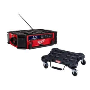 M18 Lithium-Ion Cordless PACKOUT Radio/Speaker with Built-In Charger and PACKOUT Dolly Multi-Purpose Utility Cart