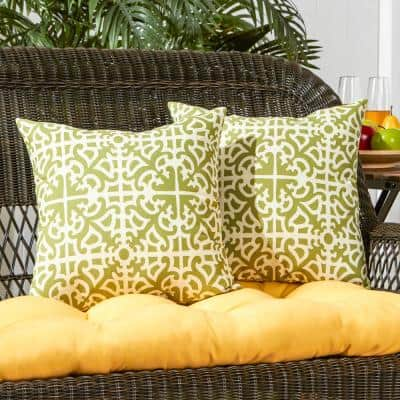 Grass Lattice Square Outdoor Throw Pillow (2-Pack)