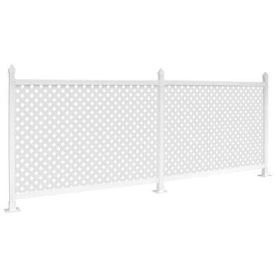36 in. x 24 ft. White Modular Vinyl Fence Trailer Skirt Kit with Lattice - Soft Surface
