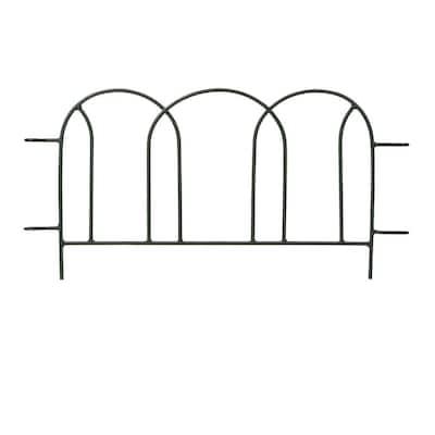 22 in. Tall Black Powder Coat Iron Scallops Border Garden Fence Section