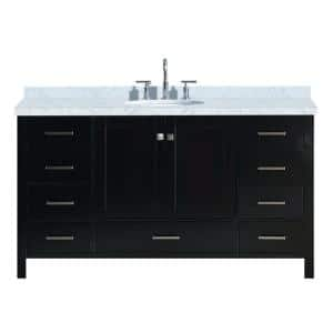 Cambridge 61 in. Bath Vanity in Espresso with Marble Vanity Top in Carrara White with White Basin
