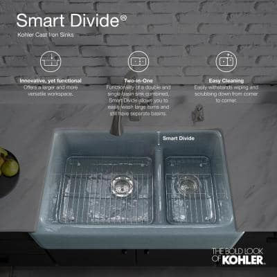 Iron Tones Smart Divide Drop-In Undermount Cast Iron 33 in. Double Bowl Kitchen Sink in White
