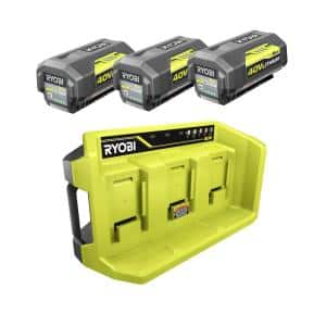 40V Lithium-Ion 3-Port Charger with (3) 6.0 Ah Batteries