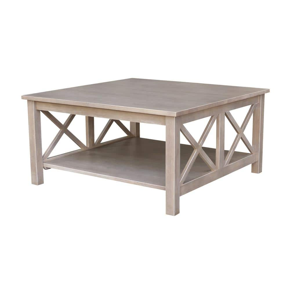 International Concepts Hampton 36 In Weathered Gray Medium Square Wood Coffee Table With Shelf Ot09 70sc The Home Depot
