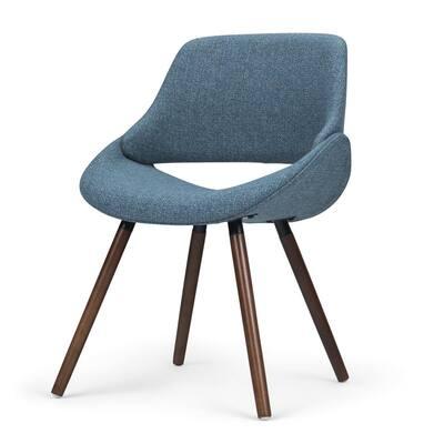Malden Mid Century Denim Blue Woven Fabric Modern Bentwood Dining Chair