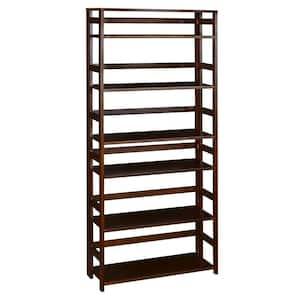 67 in. Mocha Walnut Wood 6-shelf Standard Bookcase
