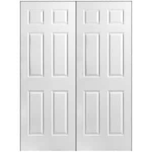 48 in. x 80 in. 6-Panel Primed White Hollow-Core Textured Composite Prehung Interior French Door