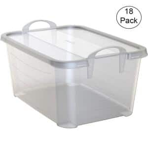Clear Stackable Closet Organization and Storage Box, 55 Qt. (18-Pack)