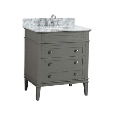 Rivoli 30 in. W x 22 in. D Bath Vanity in Fog Gray with Carrara Marble Vanity Top with White Basin