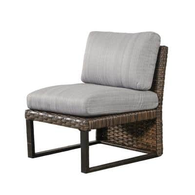 1-Piece Brown Wicker Outdoor Sectional Armless Chair with Gray Cushions