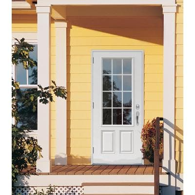 32 in. x 80 in. 12 Lite Primed Steel Prehung Right-Hand Outswing Front Door