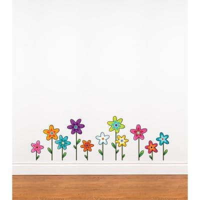 """(37 in x 12 in) Multi-Color """"Wild Flowers"""" Kids Wall Decal"""