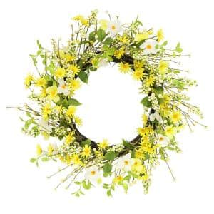 24 in. Artificial Daisy and Dogwood Wreath