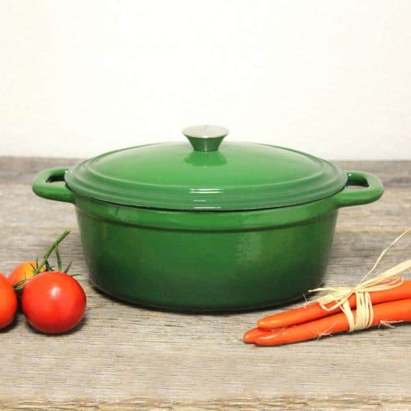Berghoff Neo 8 Qt Green Oval Cast Iron Casserole Dish With Lid 2211291a The Home Depot