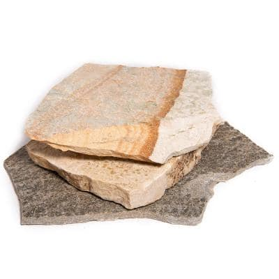 60 sq. ft. 18 in. x 12 in. x 2 in. Gold Quartzite Natural Flagstone for Landscape, Gardens and Pathways