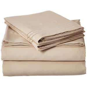 4-Piece Cream Solid Microfiber King Sheet Set