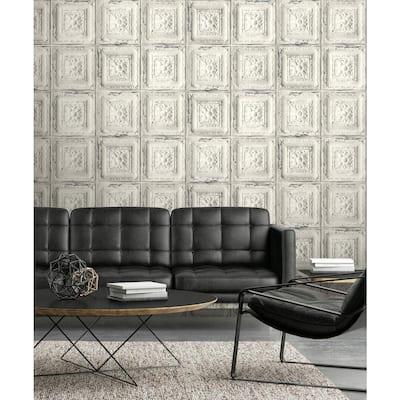 Distressed Tin Tile Off-White Geometric Vinyl Peel & Stick Wallpaper Roll (Covers 30.75 Sq. Ft.)