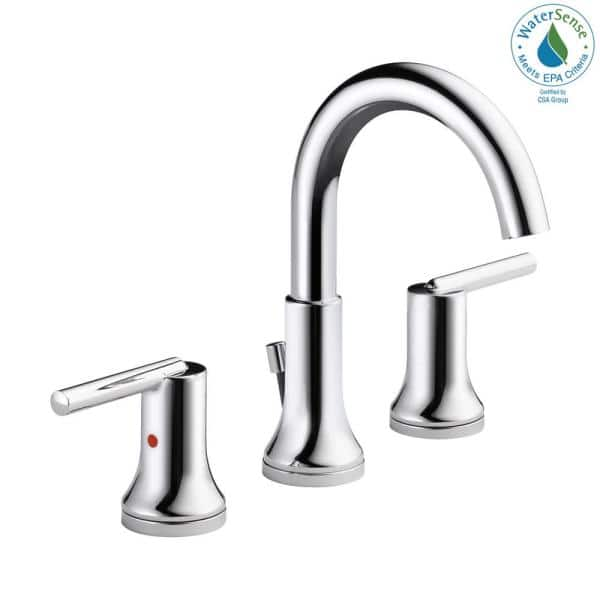 Delta Trinsic 8 In Widespread 2 Handle Bathroom Faucet With Metal Drain Assembly In Chrome 3559 Mpu Dst The Home Depot