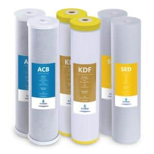 FLTWH2045CKS2 KDF Carbon Sediment Heavy Metal Whole House Replacement Filters Water Filter Cartridge 6-Pack
