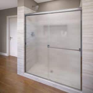 Classic 60 in. x 70 in. Semi-Frameless Sliding Shower Door in Chrome with Obscure Glass