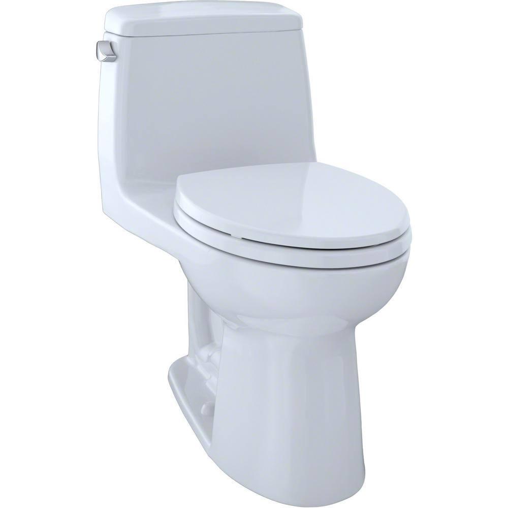 Toto Eco Ultramax 1 Piece 1 28 Gpf Single Flush Elongated Toilet In Cotton White Ms854114e 01 The Home Depot