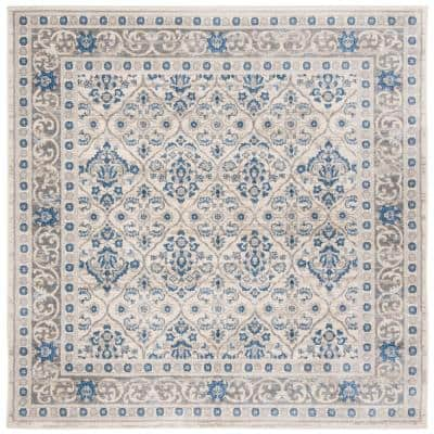 Brentwood Light Gray/Blue 5 ft. x 5 ft. Square Floral Border Geometric Area Rug