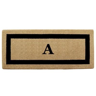 Single Picture Frame Black 24 in. x 57 in. Heavy Duty Coir Monogrammed A Door Mat