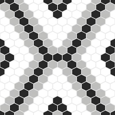Black Pattern Vinyl Tile Flooring, Black And White Tile Flooring Vinyl