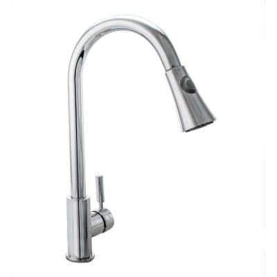 Single-Handle Pull-Down Sprayer Kitchen Faucet with Ceramic Disc Cartridge in Chrome