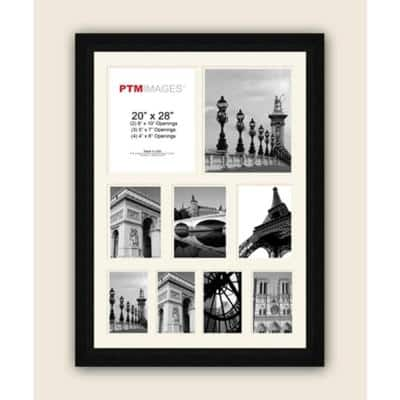 9-Opening 23-1/2 in. x 31-1/2 in. Multi-sized White Matted Black Photo Collage Frame