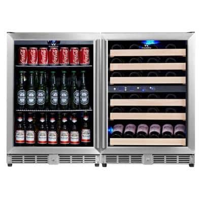 3 Zone 46.84 in. 46-Bottle Wine and 160-Can Combo Beverage Cooler