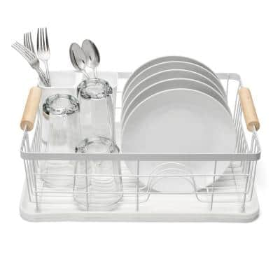 3 Piece Metal Frame Bamboo Handles White Dish Rack Set Removable Plastic Drying Board and Utensil Holder