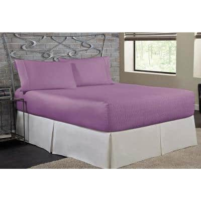 Bed Tite Microfiber 4-Piece Lilac Solid 200 Thread Count Microfiber Queen Sheet Set