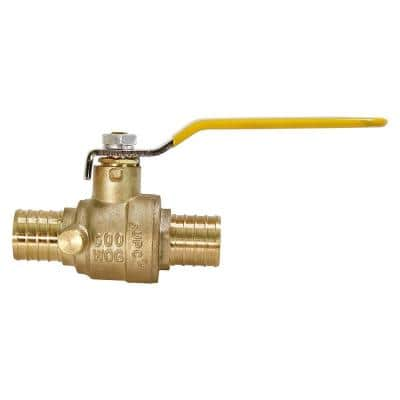 1 in. Full Port PEX Barb Ball Valve Water Shut Off with Drain